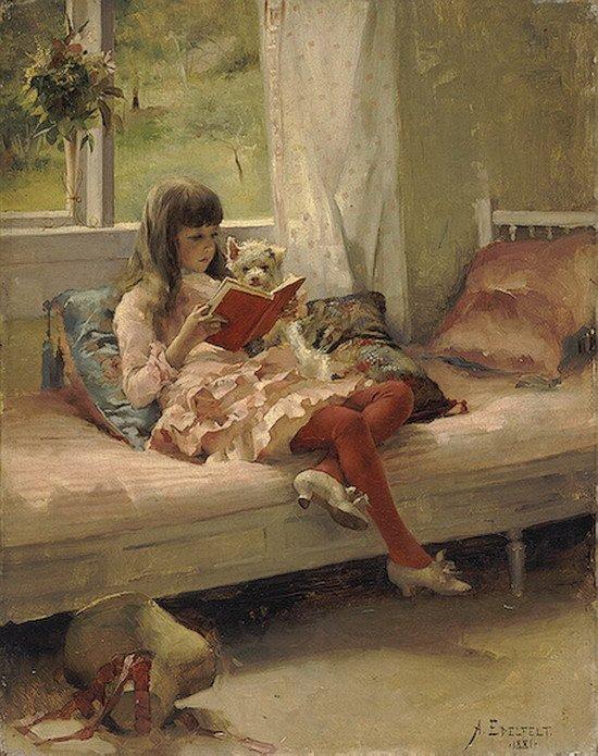 Un thème souvent repris en peinture  :  la lecture ... /  Albert Gustaf Aristides Edelfelt (1854-1905)