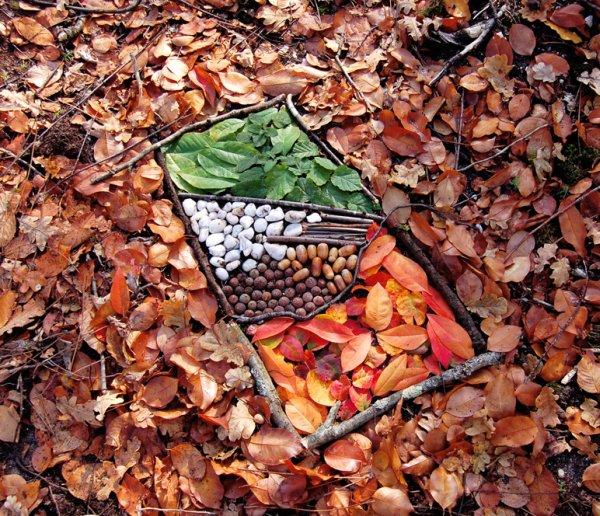 """Aimez-vous le  LAND  ART  ?  un petit côté """" ARTE  POVERA """"  italien, non ?  : """" plateau repas """"  : cailloux, noisettes, glands, feuilles, morceaux de bois ( image trouvée sur web, 2007)"""