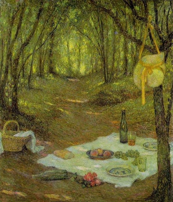 Henri Le Sidaner (1862-1939)  ,  intimisme  ,  goûter sous-bois à Gerberoy  (Oise)
