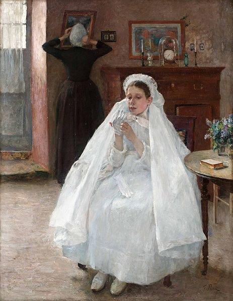 Georg Pauli  (1855-1935)   :  jeune fille française se préparant à la communion solemnelle.