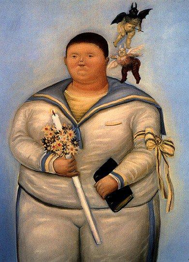 Encore des communiants............ :    Fernando Botero , portrait le jour de ma première communion  (1970)