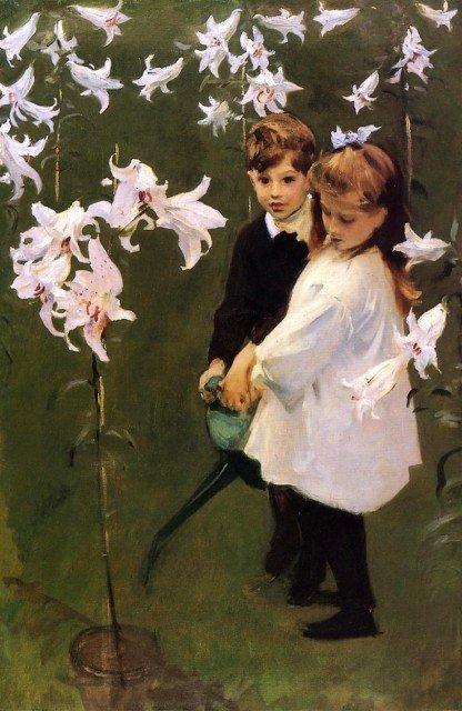 Fleur de saison ,  lys  / John Singer Sargent (1856-1925)  : garden , study of the Vickers children.