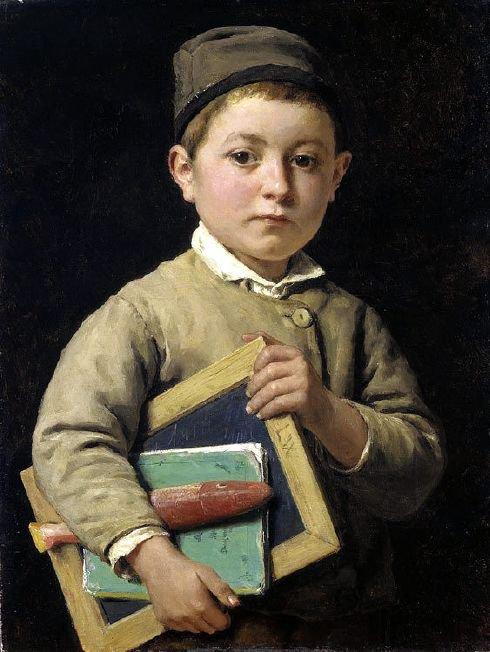 Albert Anker  ( 1831-1910 )   :   une petite révision   /   prêt pour demain...