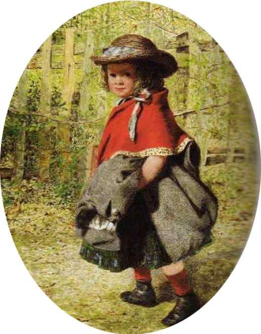 James Hayllar   (1829-1920)   :  going to school    /   going home from school...