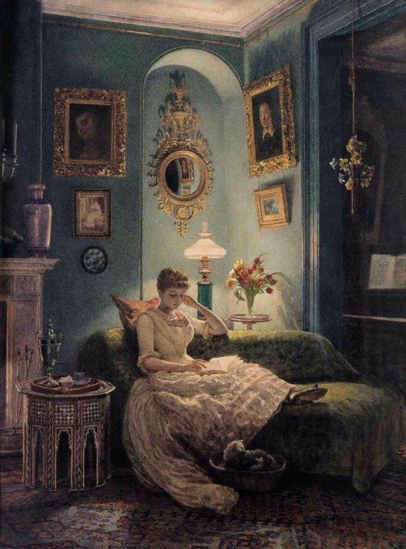 (Sir)  Edward John Poynter  (1836-1919)   :  soirée à la maison