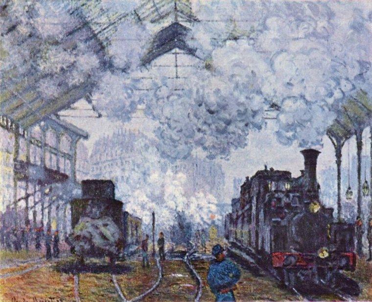 Claude Monet  (1840-1926)  :  la Gare Saint-Lazare (1877) , un de mes préférés de la série...