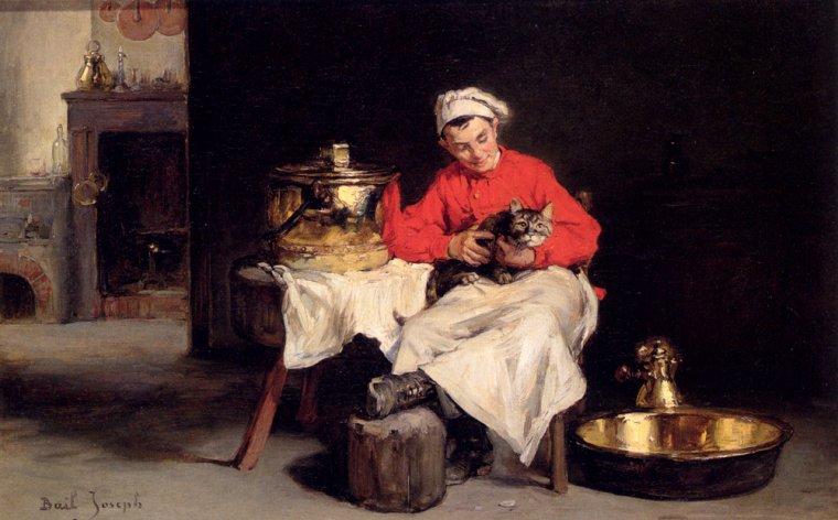 Joseph Bail  (1862-1921)   :   le  cuisinier   ( le chat n'a pas l'air tranquille...)
