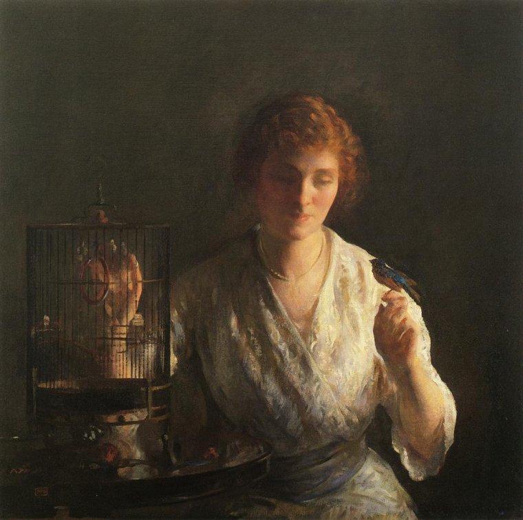 Joseph  De Camp  ( 1858-1923)   :  l'oiseau bleu  (1919)