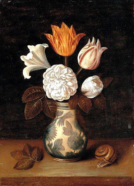 Willem  Van Aelst  (1625-1683)   :   nature morte de fruits à l' escargot