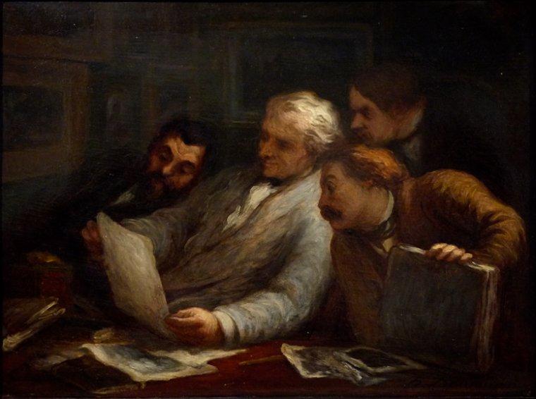 Le saint du jour avec...  Honoré  DAUMIER   (1808-1879)   :   les collectionneurs de gravures  (1860)