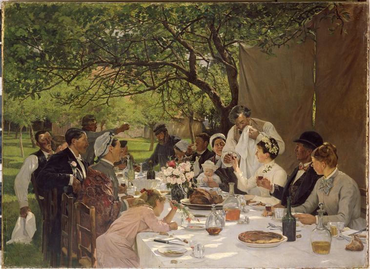 La saison des mariages  :  Albert-Auguste Fourié  (1854-1937)   /   repas de noces à Yport (1886)