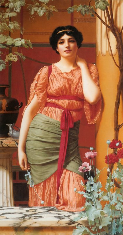 Fleur de saison  : le pavot   /  John William  GOODWARD  (1861-1922)  :  Nerissa (1906)