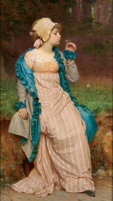 Charles Edward  PERUGINI  (1839-1918)   :   he loves me , he loves me not  (1892)