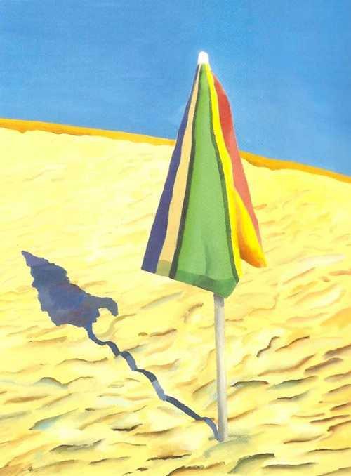David  HOCKNEY  (1937-      )     :  parasol de plage  (1971)