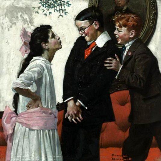 Norman  ROCKWELL  (1894-1878)    :   Cousin Reginald sous le gui...