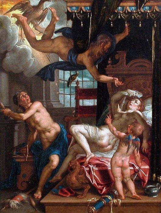 Bonne Fête ... Jules  , un jules ( = pot de chambre ) se trouve dans le tableau    /   Joachim Anthoniz  WTEWAEL   (1566-1638)  :   Danaé