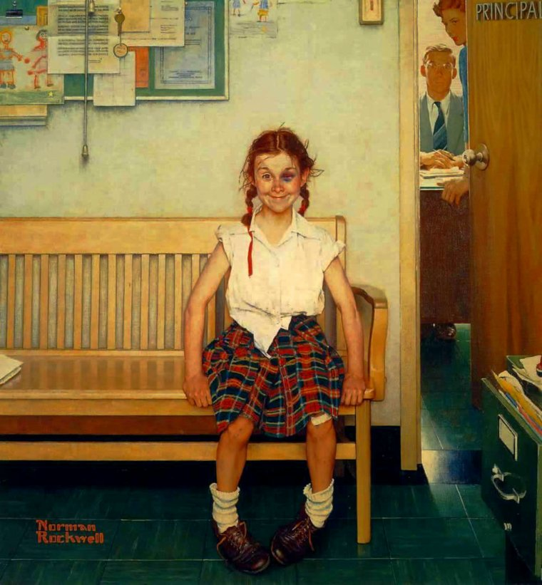 Météo du jour...:    Norman  ROCKWELL  (1894-1978)  ,  girl with a black eye  (1953)