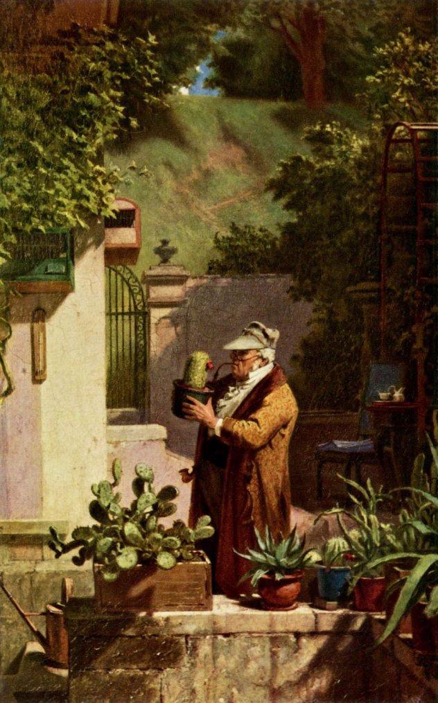 Carl  SPITZWEG  (1808-1885)  :  L' ami des cactus  (1857)