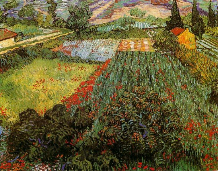 Fleur de saison ...:  le coquelicot   /   Vincent VAN  GOGH   (1853-1890)   :  champ aux coquelicots à Saint Rémy de Provence ,  début juin 1889