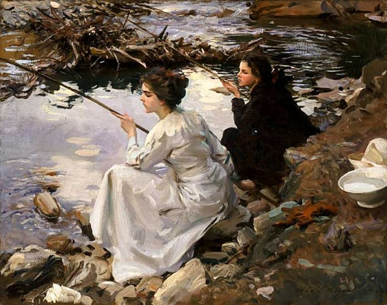 COUP  DE  COEUR  ...  John Singer SARGENT  (1856-1925)  :  Two Girls Fishing  ,1912