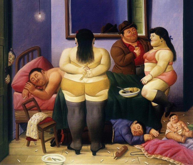 L'heure d'aller au lit...avec Fernando  BOTERO  , peintre colombien contemp.