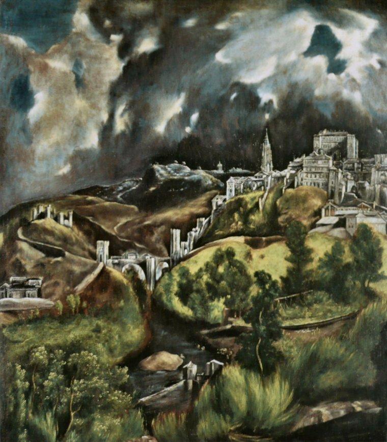 Météo du jour... :   ça va tourner à l'orage... Domeniko Theokopoulos , dit EL GRECO  (1541-1614) , maître espagnol d'origine crêtoise  :  vue de Tolède   /    Spéciale dédicace à Moditbik...