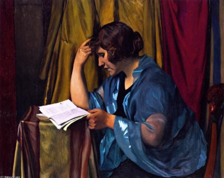 FELIX VALLOTTON ( 1865 - 1925 )  , via  Liseur-liseuse...On dirait l'écrivain Colette ...
