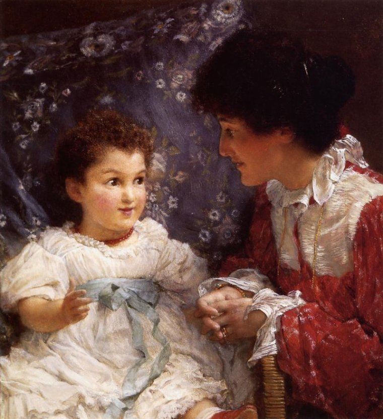 COUP  DE  COEUR  ...  Lawrence  ALMA-TADEMA  (1836-1912)  :  Mme George Lewis et sa fille Elizabeth