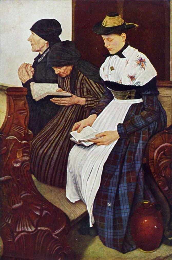 Wilhelm Maria Hubertus LEIBL   (1844-1900)   :  3 femmes à l'église , 1881.