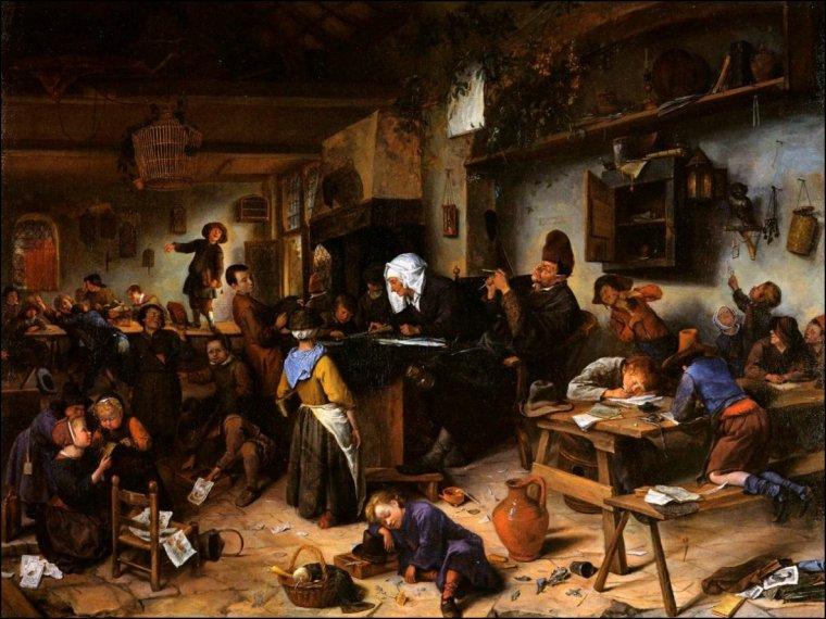 Jan  STEEN  (1626-1679)   : une salle de classe , c.1870