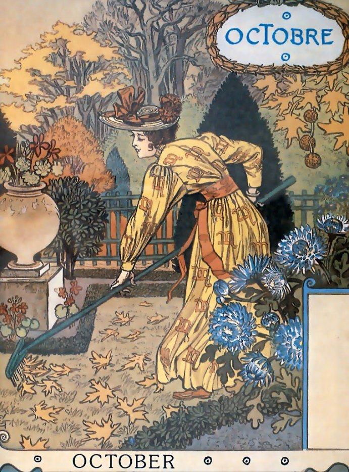 Eugène Grasset (1845-1917) , calendrier de la Belle Jardinière , OCTOBRE 1896