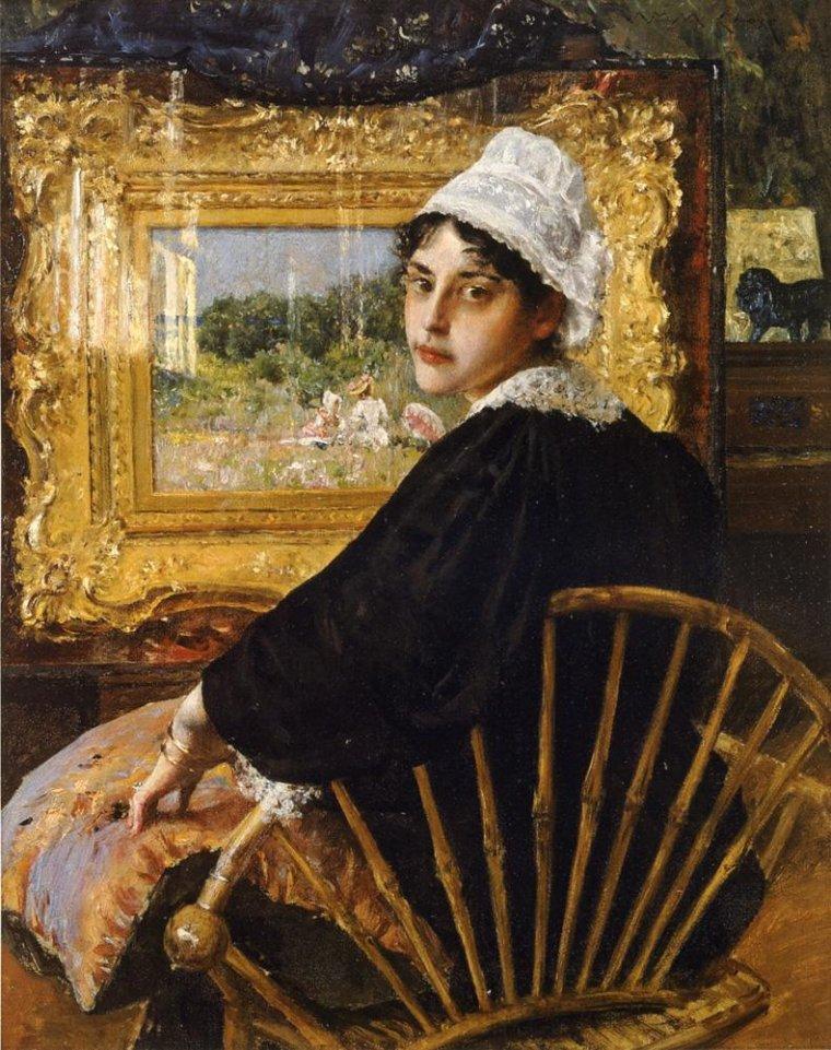 COUPS  DE COEUR ...  William Merritt Chase (1849-1916) Mme William Merritt Chase (Alice Bremond Gerson) 1892   /    John Vanderlyn (American peintre néoclassique, 1775-1852) Mary Scott Swan 1815