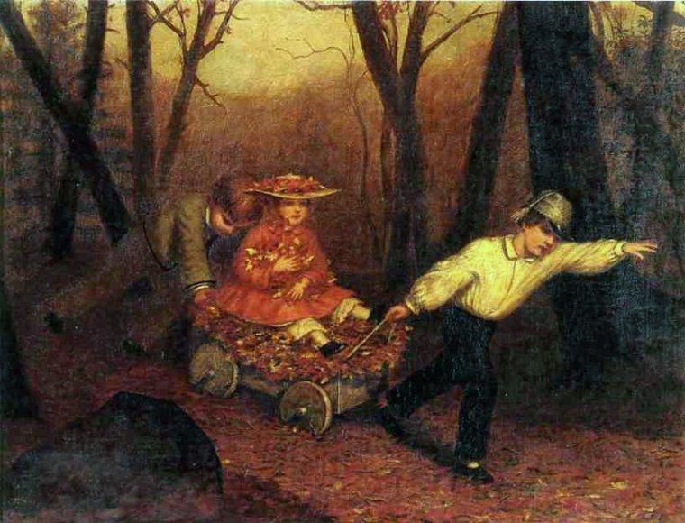 Enoch Wood Perry  (peintre américain, 1831-1913)  Collecte de feuilles d'automne ,1858