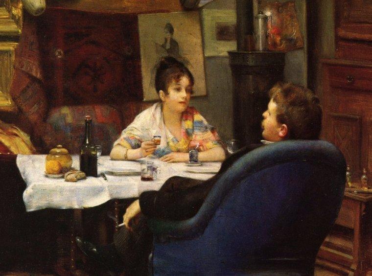 COUP  DE  COEUR  ...  :  Henry SIDDONS MOWBRAY (1858-1928)  , repas dans l'atelier...