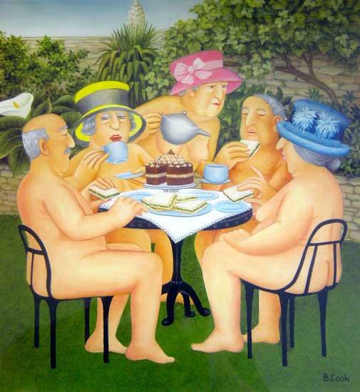 Beryl  COOK  (1926-2008)  :   tea in the garden  (2003)