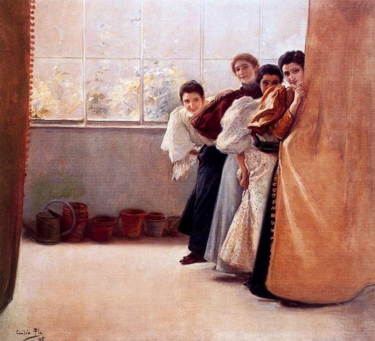 COUPS DE COEUR ...  2  tableaux de  Cecilio PLA  Y  GALLARDO  (1860-1934)   :  Lune de miel  /  femmes derrière un rideau
