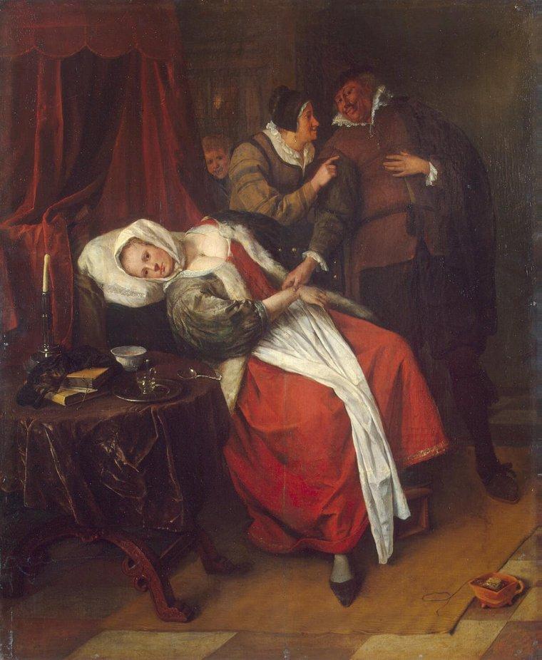 Petits conseils pratiques... : Pour lutter contre la grippe  /   Jan STEEN  (ca 1625-1679)