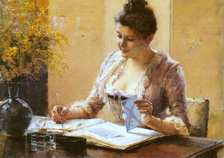 Albert EDELFELT  (1854-1905)      Solange...dans son travail de création...   ;-)