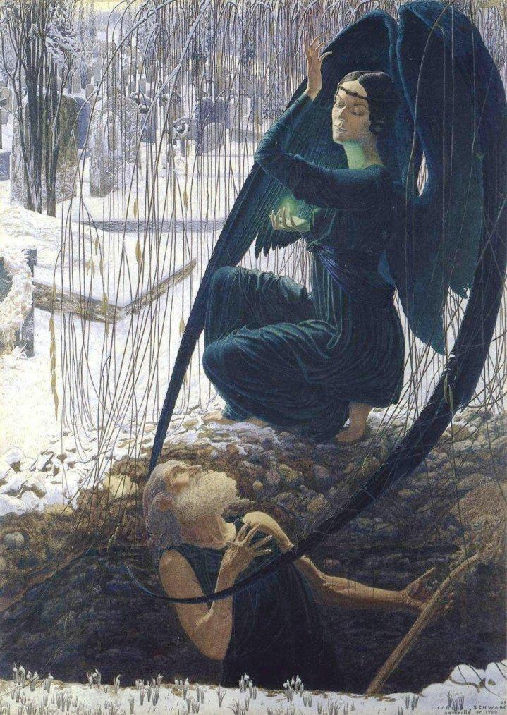 Jour des Défunts...  Carlos SCHWABE , peintre symboliste allemand (1866-1926) : la mort du fossoyeur.
