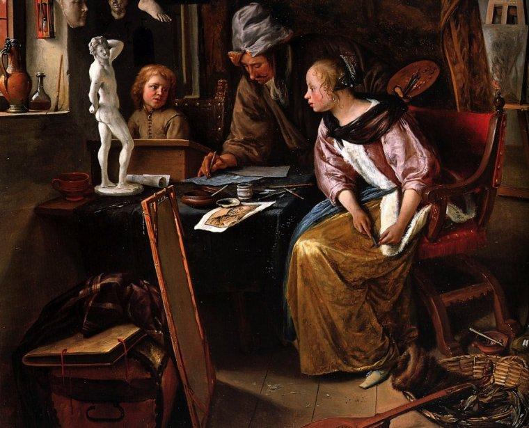 3  tableaux de Jan STEEN   (ca 1625-1679)  ,  merci Liseuse-liseur...
