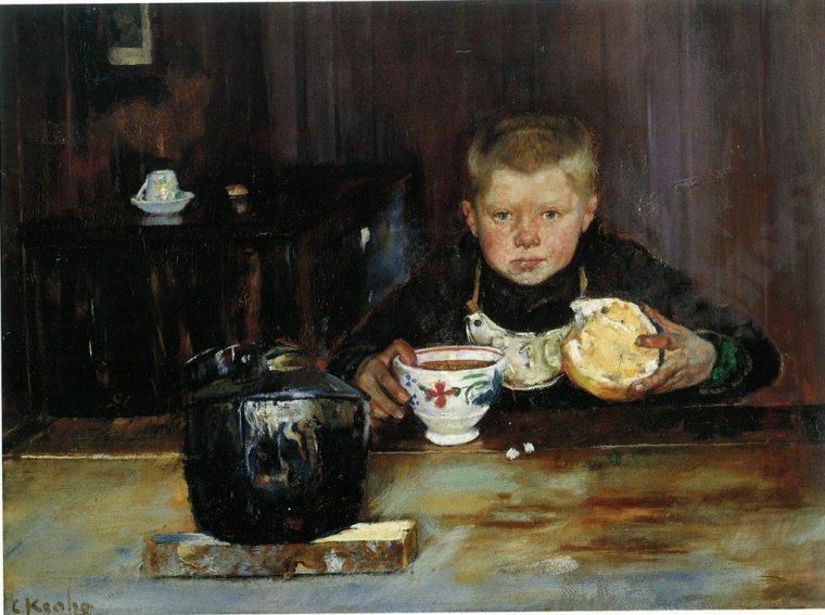 6  tableaux de Christian KROHG  (1852-1925) ,  peintre norvégien