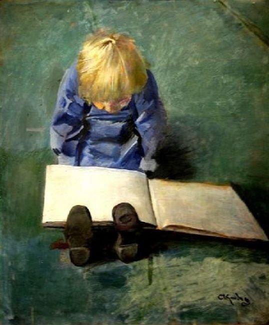 2 tableaux de Christian KROHG   /  1 tableau de Peder Severin  KROYER  (1851-1909) , peintre danois   :  la famille Hirschsprung