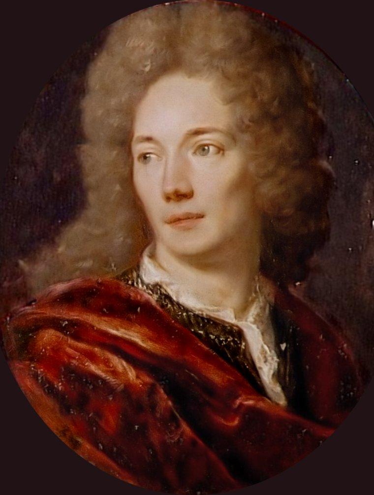 Citation de Jean  DE LA BRUYERE   (1645-1696)  ,  portrait de l'écrivain attribué à Nicolas  DE  LARGILLIERE (1656-1746)