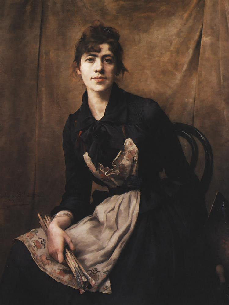 2 tableaux d' Anna  BILINSKA (1857-1893)   :   une rue de Berlin  /  autoportrait