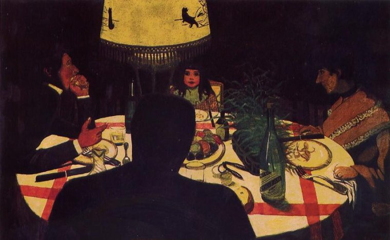 Félix  VALLOTTON  (1864-1925)   :  le dîner , effet de lampe...