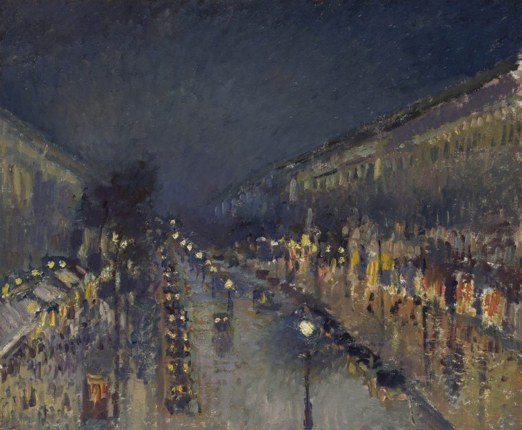 COUP DE COEUR  ...    Camille  PISSARRO  (1830-1903)   :   Boulevard Montmartre , effet de nuit