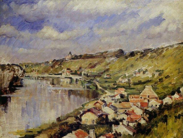 « Si vous cherchez la source du fleuve, vous la trouverez dans les gouttes d'eau sur la mousse. »  proverbe japonais   /   Paul Cézanne (1839-1906)  : paysage au bord de l' Oise  , 1875