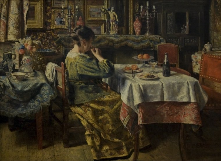 Henri de  BRAEKELEER  (1840-1888)   :   le repas ,1885
