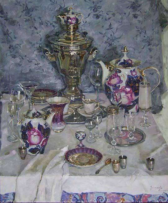 Teatime  ...  Olga Grigorieva-Klimova  ,  peintre ukrainienne contemp.
