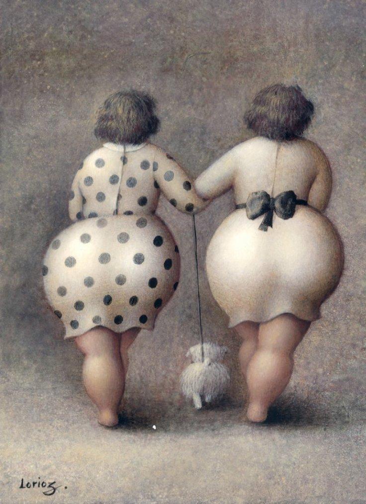 Aimez-vous le fessier callipyge  ?   Jeanne Lorioz ,  peintre français contemp.  /  merci à Solange de m'avoir fait connaître ces accortes personnes...